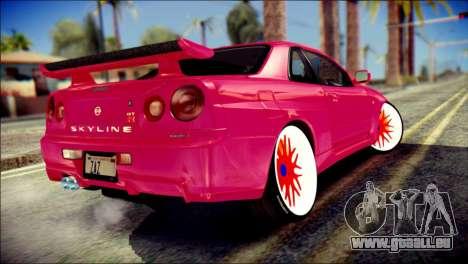 Nissan Skyline GTR V Spec II pour GTA San Andreas laissé vue