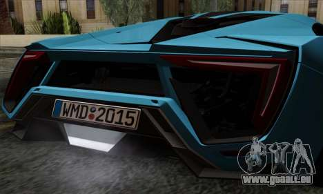 Lykan Hypersport 2014 EU Plate Livery Pack 2 pour GTA San Andreas vue arrière