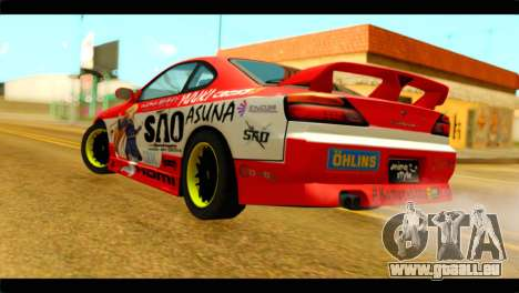 Nissan Silvia S14 Yuuki Asuna Itasha pour GTA San Andreas laissé vue
