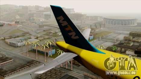 Airbus A320-200 MTN pour GTA San Andreas sur la vue arrière gauche