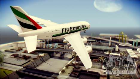 Airbus A380-800 Fly Emirates Airline für GTA San Andreas linke Ansicht