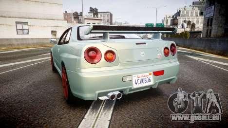 Nissan Skyline R34 GT-R M-Spec Nur für GTA 4 hinten links Ansicht
