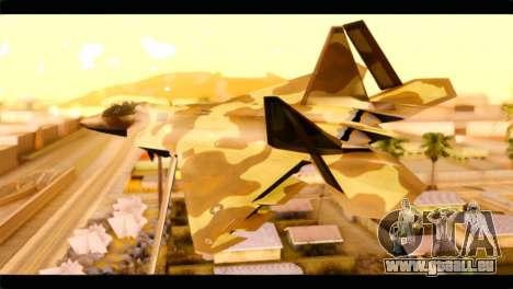 F-22 Raptor Desert Camouflage pour GTA San Andreas laissé vue