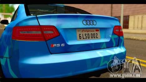 Audi RS6 VIP Star pour GTA San Andreas vue arrière