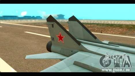 MIG-31 Soviet pour GTA San Andreas sur la vue arrière gauche