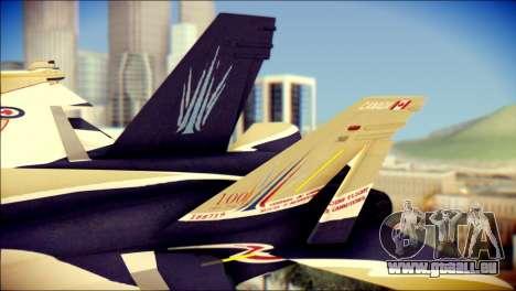 FA-18D Hornet RCAF pour GTA San Andreas sur la vue arrière gauche
