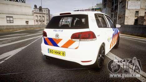 Volkswagen Golf Mk6 Dutch Police [ELS] pour GTA 4 Vue arrière de la gauche