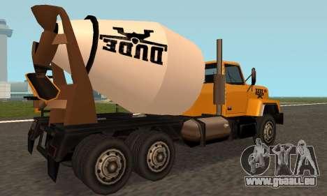 Cement Truck Fixed pour GTA San Andreas vue de droite