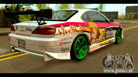 Nissan Silvia S15 Drift Hirasawa Yui Itasha pour GTA San Andreas laissé vue