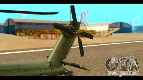 Boeing AH-64D Apache pour GTA San Andreas sur la vue arrière gauche