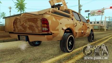 Toyota Hilux Siria Rebels without flag für GTA San Andreas linke Ansicht