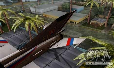 MIG-21MF Slovak Air Force SLP für GTA San Andreas zurück linke Ansicht