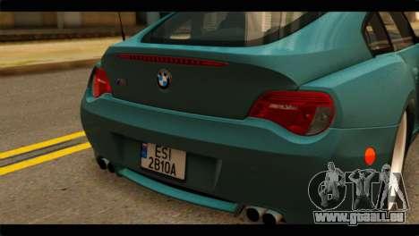 BMW Z4M Coupe pour GTA San Andreas vue arrière