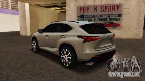 Lexus NX200T v2 pour GTA San Andreas laissé vue