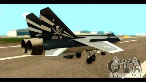 MIG-31 Pirat Squadron pour GTA San Andreas laissé vue