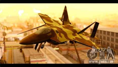 F-22 Raptor Desert Camouflage pour GTA San Andreas vue arrière