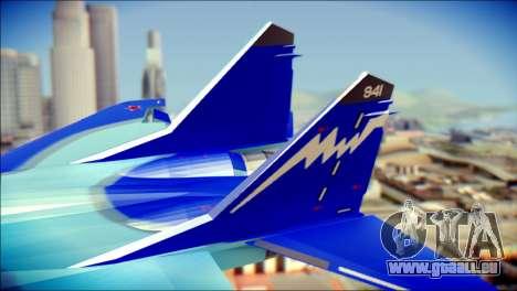 Mikoyan-Gurevich MIG-29K UB 341 Blue pour GTA San Andreas sur la vue arrière gauche