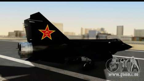 Mikoyan-Gurevich MIG-31 China Air Force pour GTA San Andreas laissé vue