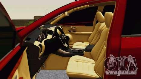 Lexus NX200T v2 pour GTA San Andreas vue de dessus