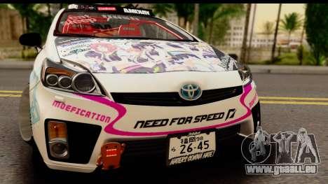 Toyota Prius Hybrid Eri Ayase Love Live Itasha pour GTA San Andreas sur la vue arrière gauche