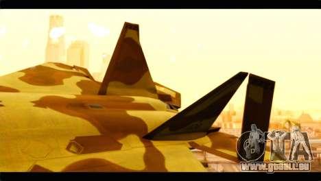 F-22 Raptor Desert Camouflage pour GTA San Andreas sur la vue arrière gauche