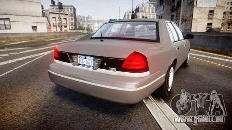 Ford Crown Victoria NYPD Unmarked [ELS] Old pour GTA 4 Vue arrière de la gauche