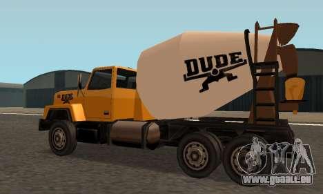 Cement Truck Fixed pour GTA San Andreas sur la vue arrière gauche