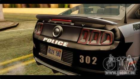 NFS Rivals Ford Shelby GT500 Police für GTA San Andreas Rückansicht