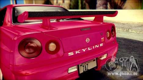 Nissan Skyline GTR V Spec II für GTA San Andreas Rückansicht