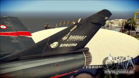 Dassault Mirage 2000-10 Black für GTA San Andreas zurück linke Ansicht