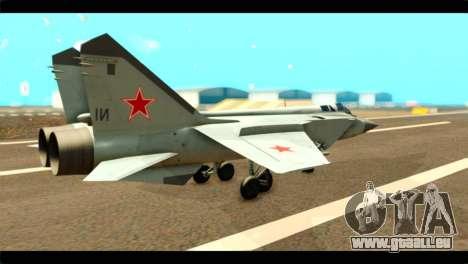 MIG-31 Soviet für GTA San Andreas linke Ansicht