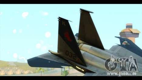 F-15C Eagle pour GTA San Andreas sur la vue arrière gauche