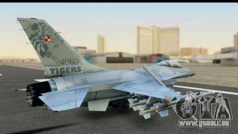 F-16C Polish Air Force Tigers pour GTA San Andreas sur la vue arrière gauche
