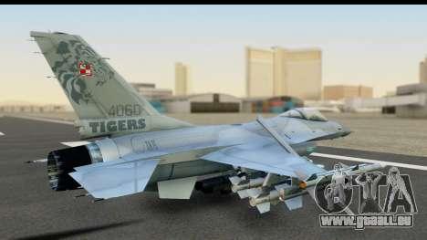 F-16C Polish Air Force Tigers für GTA San Andreas zurück linke Ansicht