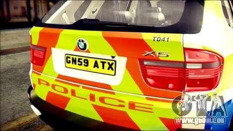BMW X5 Kent Police RPU pour GTA San Andreas vue arrière