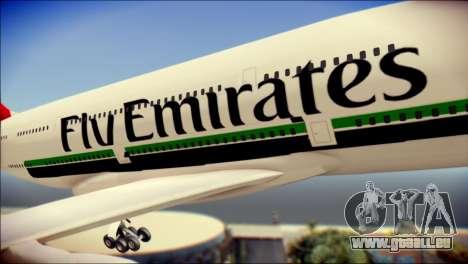 Airbus A380-800 Fly Emirates Airline für GTA San Andreas Rückansicht