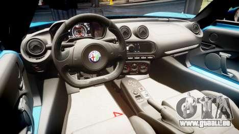 Alfa Romeo 4C 2014 HD Textures pour GTA 4 Vue arrière
