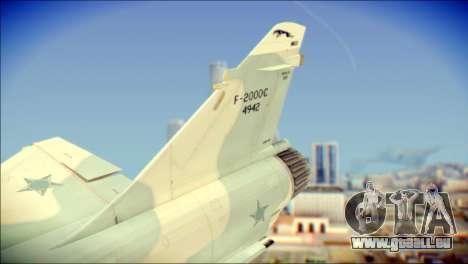 Dassault Mirage 2000-C FAB für GTA San Andreas zurück linke Ansicht