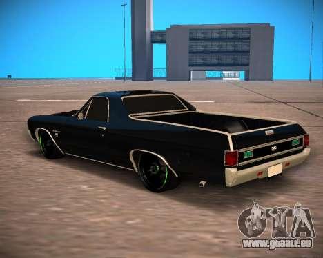 Chevrolet El Camino SS Green Hornet für GTA San Andreas zurück linke Ansicht