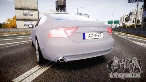 Audi A7 pour GTA 4 Vue arrière de la gauche