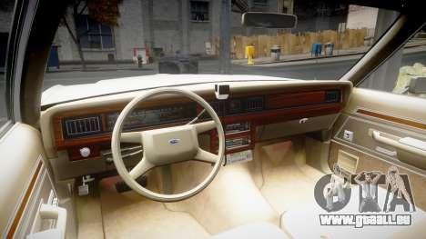 Ford LTD Crown Victoria 1987 Detective [ELS] pour GTA 4 Vue arrière