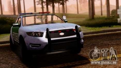 GTA 5 Vapid Police Interceptor v2 SA Style pour GTA San Andreas sur la vue arrière gauche