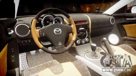 Mazda RX-8 2006 v3.2 Pirelli tires pour GTA 4 est une vue de l'intérieur