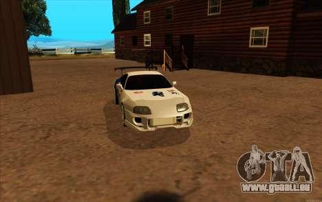 Toyota Supra Blue Robot pour GTA San Andreas sur la vue arrière gauche