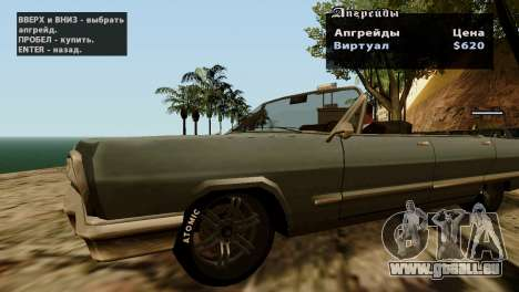 Roues de GTA 5 v2 pour GTA San Andreas cinquième écran