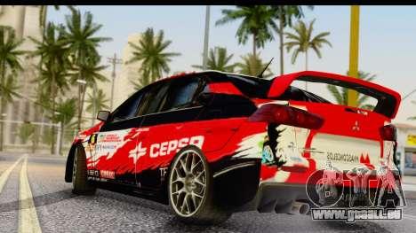 Mitsubishi Lancer Evo X Nunes pour GTA San Andreas laissé vue