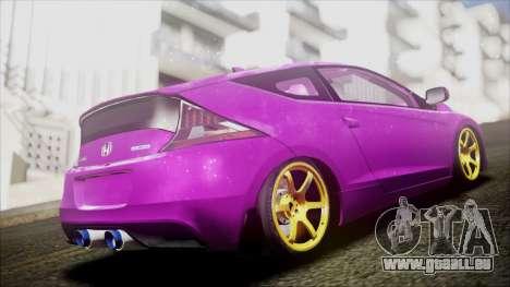 Honda CRZ Hybird Pink Cute pour GTA San Andreas sur la vue arrière gauche