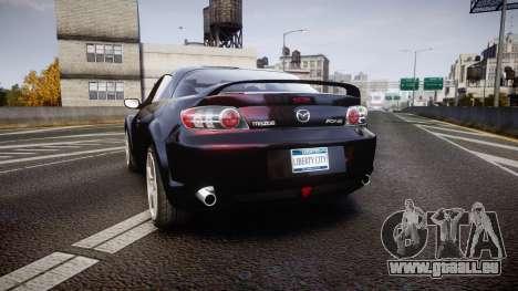 Mazda RX-8 2006 v3.2 Pirelli tires pour GTA 4 Vue arrière de la gauche