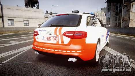 Audi S4 Avant Belgian Police [ELS] orange pour GTA 4 Vue arrière de la gauche