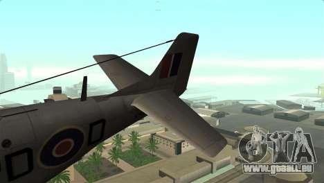 P-51D Mustang pour GTA San Andreas sur la vue arrière gauche